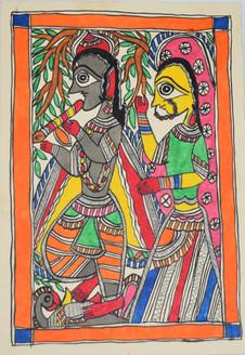 Eternal love of shri Krishna and Radhaji (ART_2168_21463) - Handpainted Art Painting - 7in X 11in