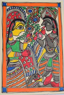 Eternal love of Shri Krishna and Radhaji (ART_2168_21462) - Handpainted Art Painting - 7in X 11in