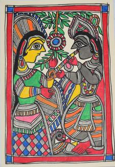 Eternal love Shri Krishna and Radhaji (ART_2168_21458) - Handpainted Art Painting - 7in X 11in