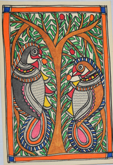Parrots eating fruits (ART_2168_21455) - Handpainted Art Painting - 7in X 11in
