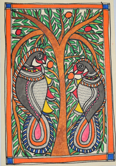 Parrots eating fruits (ART_2168_21454) - Handpainted Art Painting - 7in X 11in