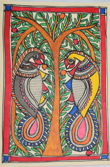Parrots eating fruits (ART_2168_21453) - Handpainted Art Painting - 7in X 11in