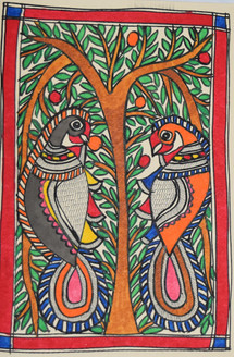Parrots eating fruits (ART_2168_21452) - Handpainted Art Painting - 7in X 11in