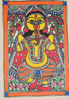 Lord Ganeshji (ART_2168_21450) - Handpainted Art Painting - 7in X 11in