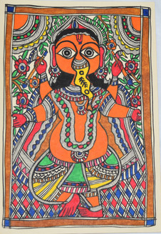 God Ganeshji (ART_2168_21447) - Handpainted Art Painting - 7in X 11in