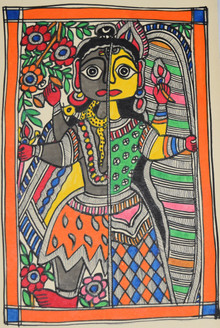 Beautiful Painting of God Shivji and goddess Parvatiji (ART_2168_21445) - Handpainted Art Painting - 7in X 11in