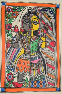 Beautiful Painting of God Shivji and goddess Parvatiji (ART_2168_21444) - Handpainted Art Painting - 7in X 11in