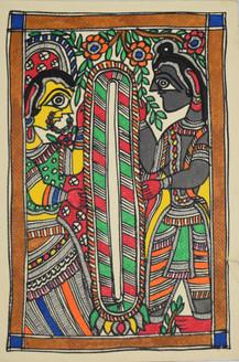 Garland exchange ceremony of God Ram and Goddess Sita (ART_2168_21409) - Handpainted Art Painting - 7in X 11in