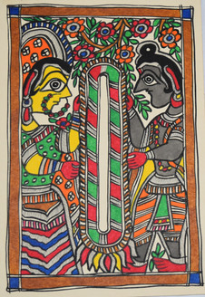 Garland exchange ceremony of God Ram and goddess Sita (ART_2168_21408) - Handpainted Art Painting - 7in X 11in