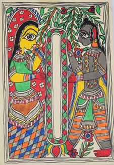 Garland exchange ceremony of God Ram and goddess Sita (ART_2168_21407) - Handpainted Art Painting - 7in X 11in