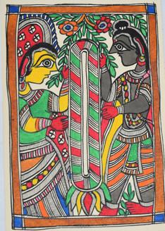 Garland exchange ceremony of God Ram and goddess Sita (ART_2168_21406) - Handpainted Art Painting - 7in X 11in