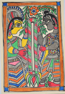 Garland exchange ceremony of Lord Ram and goddess Sita (ART_2168_21405) - Handpainted Art Painting - 7in X 11in