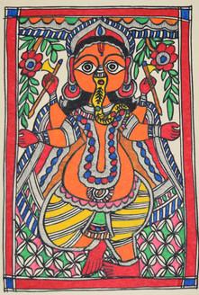 Beautiful Painting of God Ganeshji (ART_2168_21402) - Handpainted Art Painting - 7in X 11in