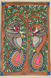 Beautiful Painting of two peacocks sitting on a tree (ART_2168_21401) - Handpainted Art Painting - 7in X 11in