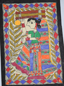 Village women carrying wood for her house (ART_2168_21399) - Handpainted Art Painting - 7in X 11in