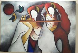 Radha krishna modern art acrylic (ART_3288_21818) - Handpainted Art Painting - 35in X 24in