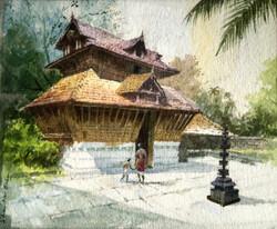 Kerala Sri Rama Temple (ART_662_21918) - Handpainted Art Painting - 13in X 10in