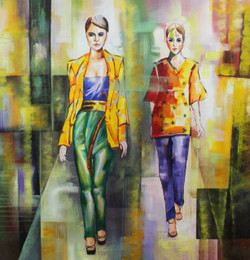 Fashionista  (ART_1522_21901) - Handpainted Art Painting - 36in X 36in