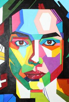 Geometrical portrait  (ART_1522_21898) - Handpainted Art Painting - 24in X 36in