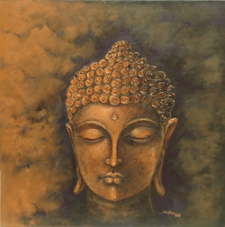 Buddha Art - 24in X 24in (Framed),ART_SYM98_2424,Acrylic Colors,Buddha,Peace,Meditation,Community Artists Group,Museum Quality - 100% Handpainted