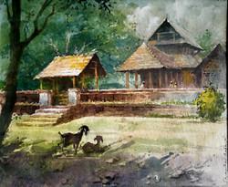 Kerala Temple (ART_662_21937) - Handpainted Art Painting - 13in X 10in