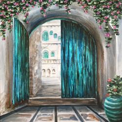 The City Doorway (ART_1316_21843) - Handpainted Art Painting - 12in X 12in (Framed)