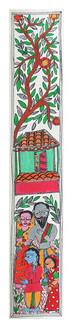 Village scene painting (ART_2168_22319) - Handpainted Art Painting - 3in X 22in