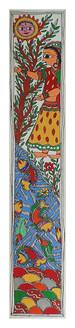 Surya Dev Aradhana Painting  (ART_2168_22327) - Handpainted Art Painting - 3in X 22in