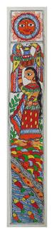 Beautiful scenery of Chhath Puja (ART_2168_22325) - Handpainted Art Painting - 3in X 22in