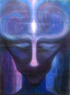Meditative Face 2 (ART_3385_22377) - Handpainted Art Painting - 18in X 24in