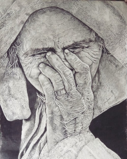An old woman (ART_3365_22281) - Handpainted Art Painting - 23in X 31in
