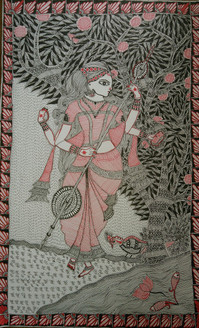Devi Saraswati (ART_3198_22558) - Handpainted Art Painting - 14in X 22in