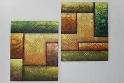 Artoholic Canvas Painting 12 INCH X15 INCH Set of 2  Special Effect Textured-N (ART_3319_22576) - Handpainted Art Painting - 12in X 15in