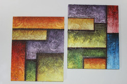 Artoholic Canvas Painting 12 INCH X15 INCH Set of 2  Special Effect Textured-N (ART_3319_22575) - Handpainted Art Painting - 12in X 15in