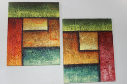 Artoholic Canvas Painting 12 INCH X15 INCH Set of 2  Special Effect Textured-N (ART_3319_22574) - Handpainted Art Painting - 12in X 15in