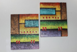 Artoholic Canvas Painting 12 INCH X15 INCH Set of 2  Special Effect Textured-N (ART_3319_22572) - Handpainted Art Painting - 12in X 15in