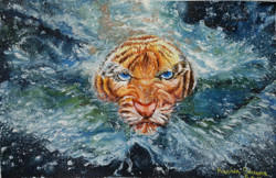 The energetic and powerful tiger into the water. (ART_3451_22650) - Handpainted Art Painting - 23in X 15in