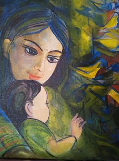 Motherhood (ART_3505_22835) - Handpainted Art Painting - 12in X 12in