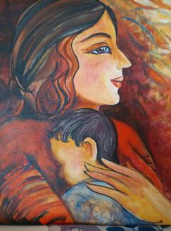 Motherhood (ART_3505_22834) - Handpainted Art Painting - 12in X 12in