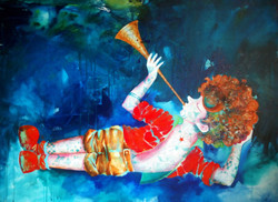 Passion of the Childhood XIV (ART_805_22919) - Handpainted Art Painting - 48in X 36in