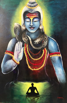 Blessings by Lord Shiva (ART_3544_23039) - Handpainted Art Painting - 20in X 30in