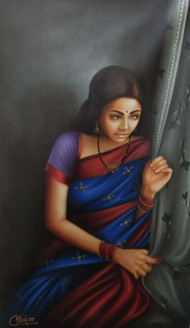 Rajasthani Lady (ART_1090_23048) - Handpainted Art Painting - 24in X 36in