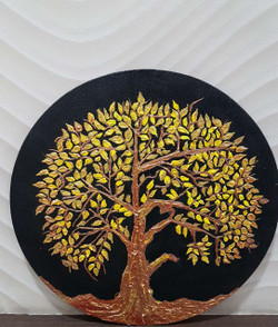 The Golden Tree of Life (ART_3416_23078) - Handpainted Art Painting - 14in X 14in