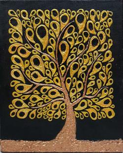 The golden tree  (ART_3416_23077) - Handpainted Art Painting - 10in X 12in
