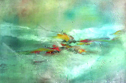 Terrestial - 36in X 24in,31ABT341_3624,Green,90X60 Size,Abstract Art Canvas Painting