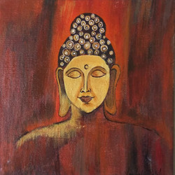 Buddha (ART_3134_23152) - Handpainted Art Painting - 8in X 8in (Framed)