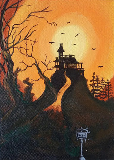 Halloween (ART_3134_23150) - Handpainted Art Painting - 5in X 7in (Framed)