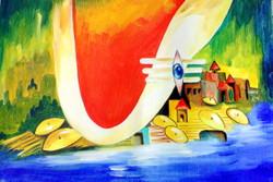 Shiv Ki Nagari (ART_2886_21143) - Handpainted Art Painting - 16in X 12in