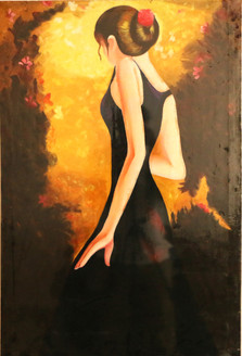 MODERN LADY (ART_3570_23565) - Handpainted Art Painting - 10in X 14in