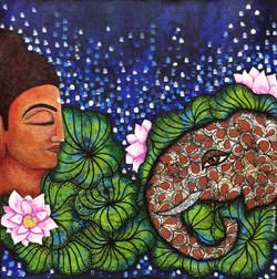 Nalagiri (ART_1397_22287) - Handpainted Art Painting - 30in X 30in